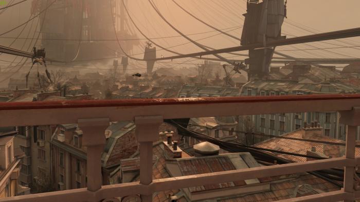 Der erste Blick nach dem Start zeigt die Welt von Half-Life Alyx. (Bild: Valve/Screenshot: Golem.de)