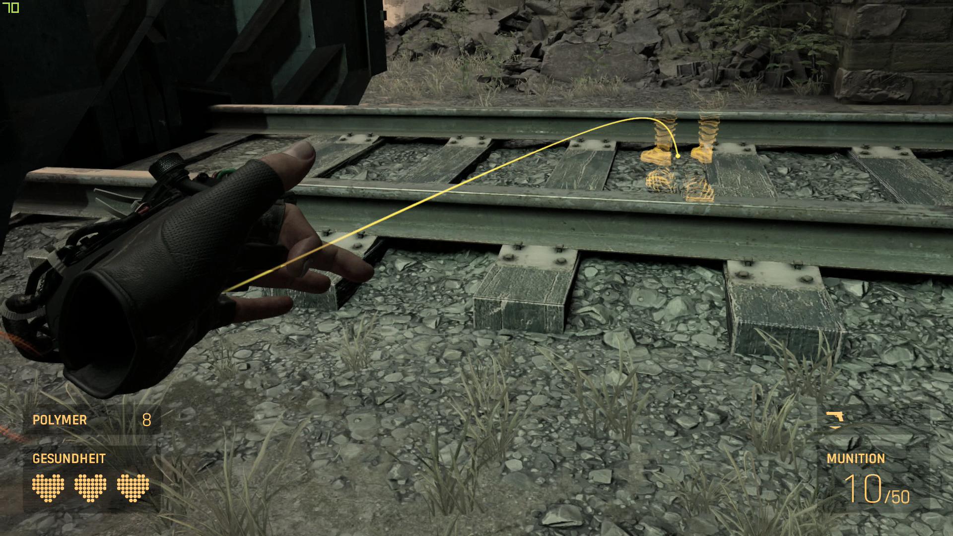 Half-Life Alyx im Test: Der erste und vielleicht letzte VR-Blockbuster - Im Standardmodus teleportieren wir uns auf Knopfdruck zu den Stiefeln. (Bild: Valve/Screenshot: Golem.de)
