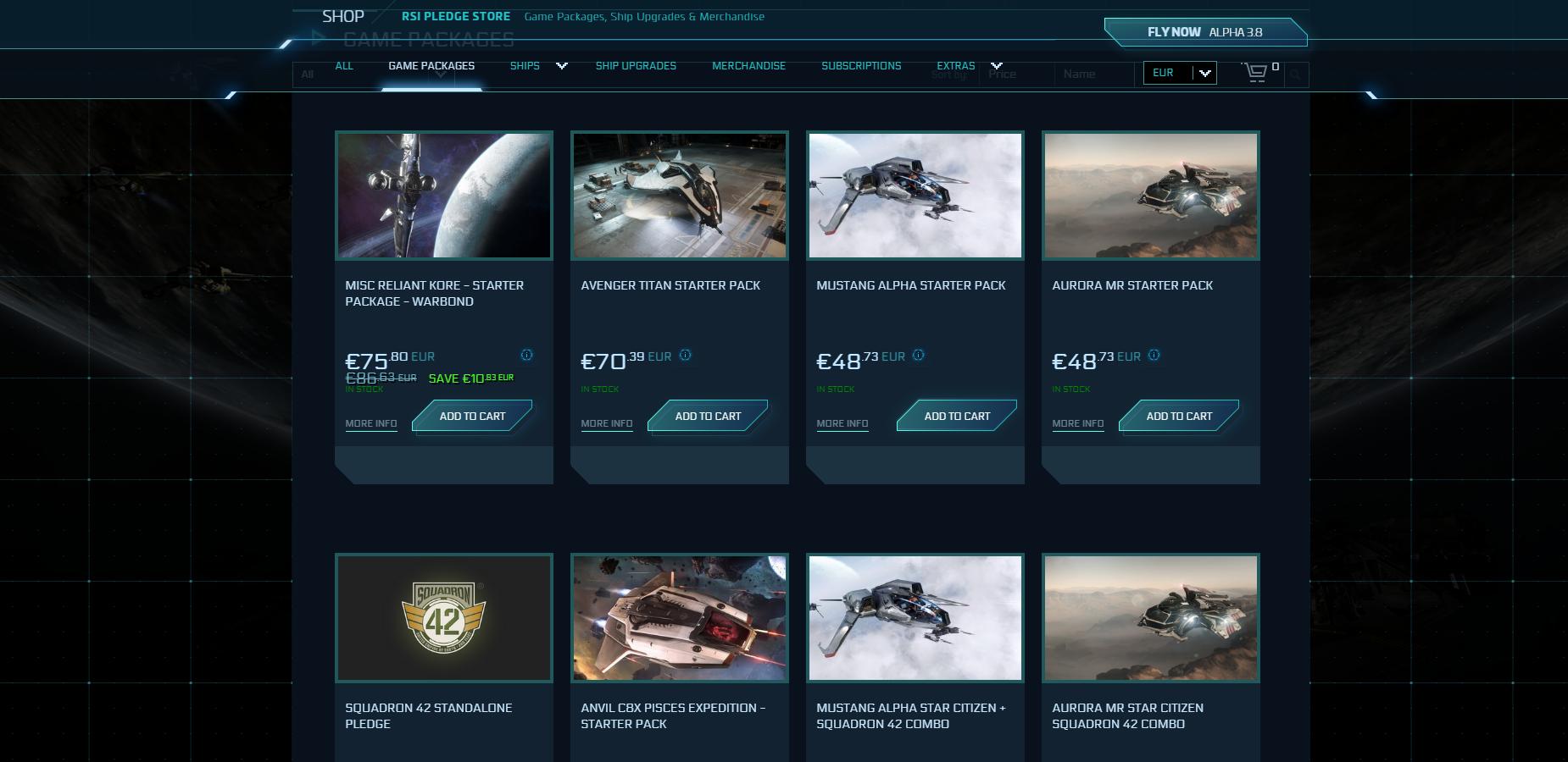 Wo Anfänger starten können: Per Anhalter durch Star Citizen - Es gibt viele Starterpakete zur Auswahl. (Bild: CIG/Screenshot: Golem.de)