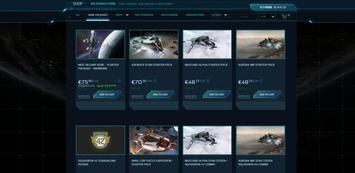 Es gibt viele Starterpakete zur Auswahl. (Bild: CIG/Screenshot: Golem.de)