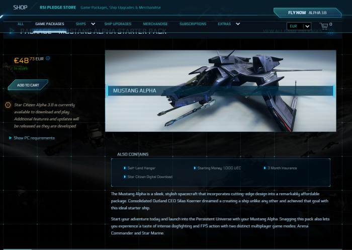 Käufer der Mustang Alpha bekommen neben dem Schiff auch Geld, eine Versicherung und einen Hangar. (Bild: CIG/Screenshot: Golem.de)