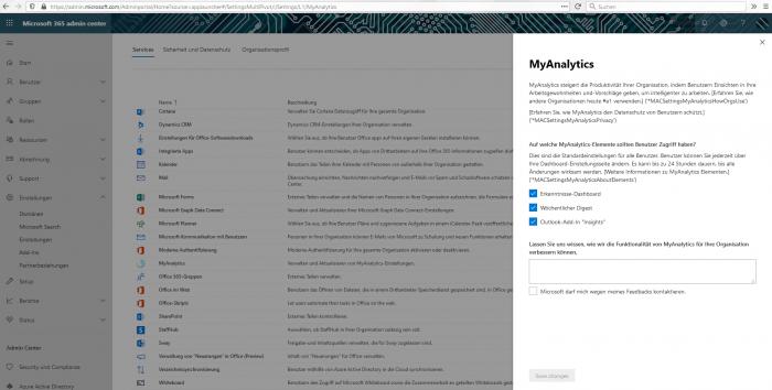 Das MyAnalytics-Tool lässt sich im Admin-Center deaktivieren, ist standardmäßig aber aktiviert. (Screenshot: Golem.de)