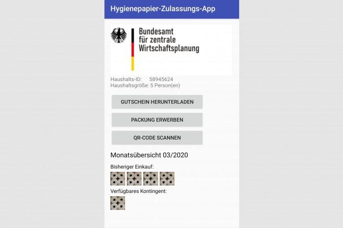 Die vorläufige Startseite der Klopapier-App (Screenshot: Bogroll Analytics/BzW)