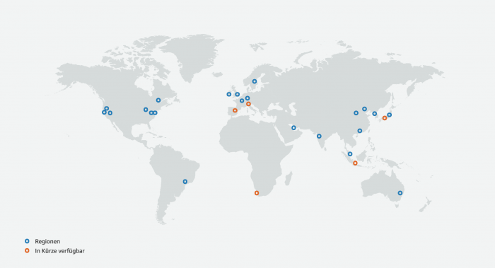 Clouds bieten meist mehrere physische Regionen an, in denen Anwender ihre Applikationen betreiben können - wie hier AWS (Bild: AWS)