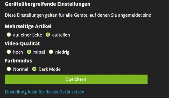 Der Dark Mode kann zentral für alle Geräte eingestellt werden oder ... (Bild: Alexander Merz/Golem.de)