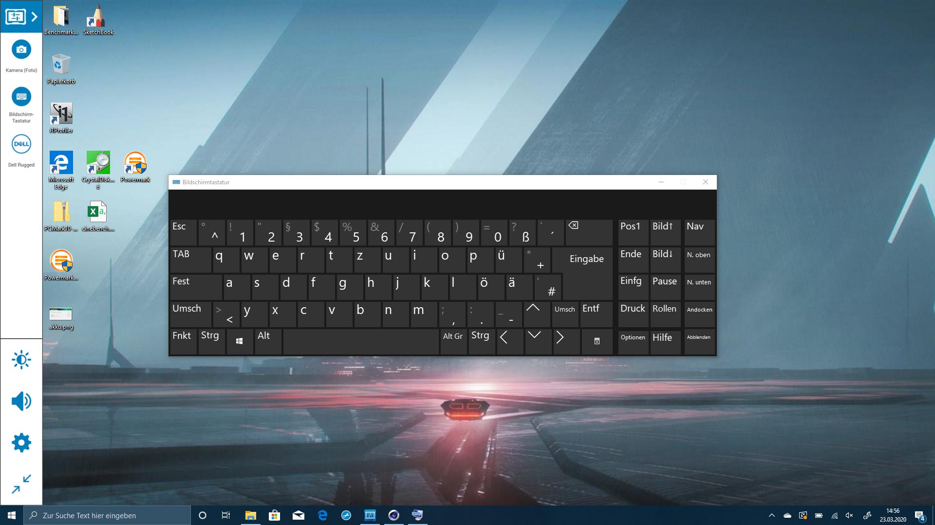 Dell Latitude 7220 im Test: Das Rugged-Tablet für die Zombieapokalypse - Die Bildschirmtastatur ist ziemlich kleinteilig. (Screenshot: Oliver Nickel/Golem.de)