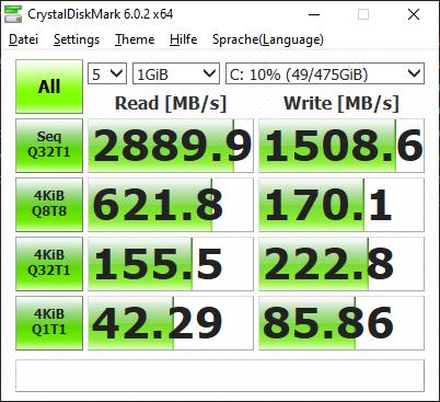 Dell Latitude 7220 im Test: Das Rugged-Tablet für die Zombieapokalypse - Die SSD ist ziemlich flott. (Screenshot: Oliver Nickel/Golem.de)
