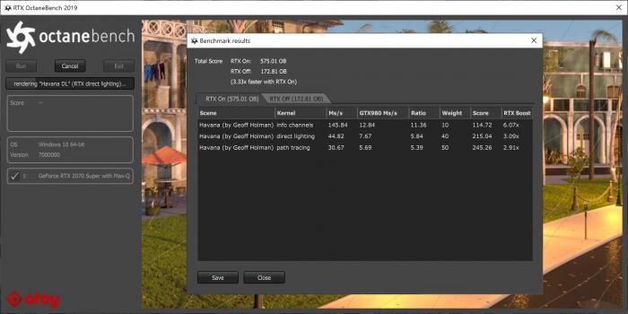 Die RT-Cores der Geforce RTX 2070 Super beschleunigen Raytracing deutlich. (Screenshot: Golem.de)