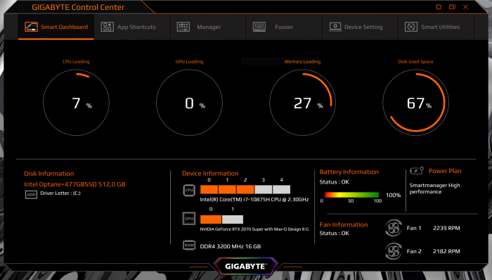 Beim Aero 15 gibt es mehrere Power-Targets für CPU und Grafik ... (Screenshot: Golem.de)