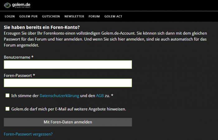 Einfacher geht es nicht: Über die Community-Seite auf Account mit den Forendaten einloggen ... (Bild: Alexander Merz/Golem.de)