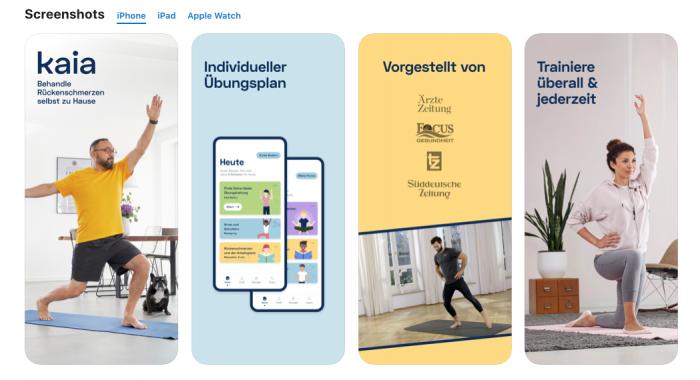 """Die App """"Kaia gegen Rückenschmerzen"""" bietet auf die individuellen Problemzonen zugeschnittene Trainingspläne, Übungsvideos sowie Entspannungsanleitungen. Die Preispolitik - im ersten Jahr für Mitglieder mancher Krankenkassen kostenlos, danach kostet die Nutzung monatlich 99 Euro - macht Kaia allerdings nicht uneingeschränkt empfehlenswert. Es gibt sie in Apples App Store und Googles Play Store. (Bild: Appstore/Screenshot: Golem.de)"""