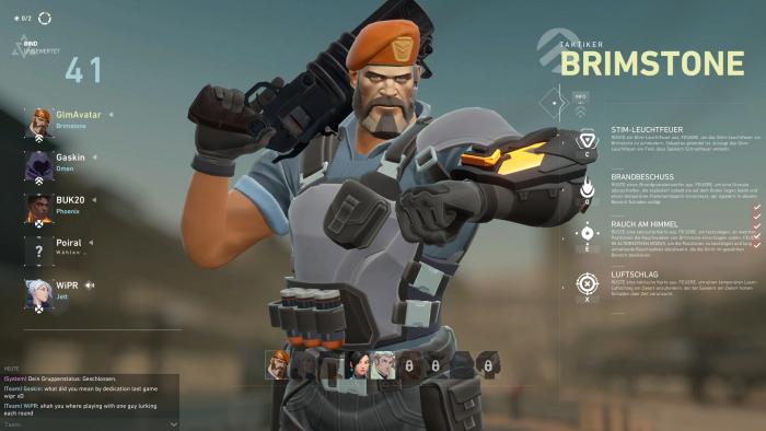 Brimstone ist einer der neun Agenten in Valorant. (Bild: Riot Games/Screenshot: Golem.de)