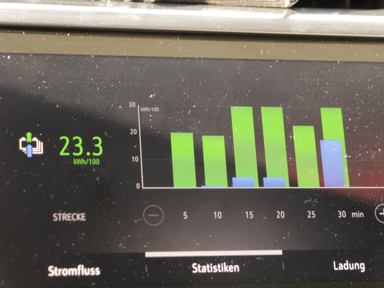 Corsa-e Probe gefahren: Ein kleiner Flitzer soll die Masse elektrifizieren - Der Fahrstil zeigt sich gut an der Verbrauchsstatistik. (Foto: Friedhelm Greis/Golem.de)