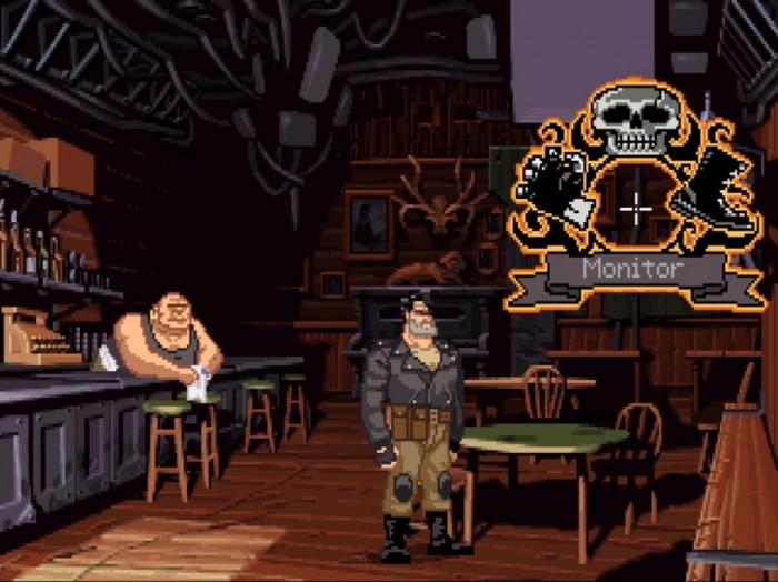 Auch in der Urversion von Full Throttle sieht die pixelige Grafik äußerst schick aus und erinnert mehr an einen animierten Trickfilm als an ein typisches Computerspiel aus dem Jahr 1995. Sie lässt sich in der Remastered-Fassung jederzeit auf Tastendruck aktivieren. (Bild: Lucas Arts / Screenshot: Medienagentur plassma)