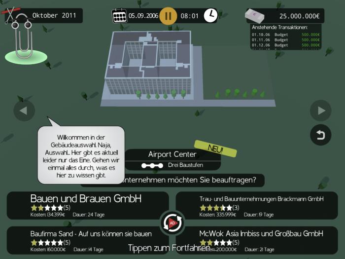 Um den Bau des Hauptterminals bewerben sich vier Subunternehmer. (Bild: Postillon/Screenshot: Golem.de)