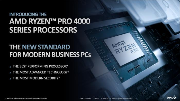 Präsentation der Ryzen Pro Mobile 4000 (Bild: AMD)
