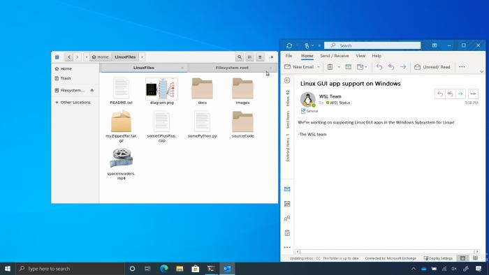 Der Gnome-Dateimanager läuft im WSL neben einer Windows-Anwendung. (Bild: Microsoft)