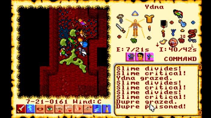 In den eher trostlosen Dungeons von Ultima 6 stoßen wir ab und an auf grünen Schleim, der sich im Kampf stetig weiter ausbreitet. (Bild: Origin Systems / Screenshot: Medienagentur plassma)
