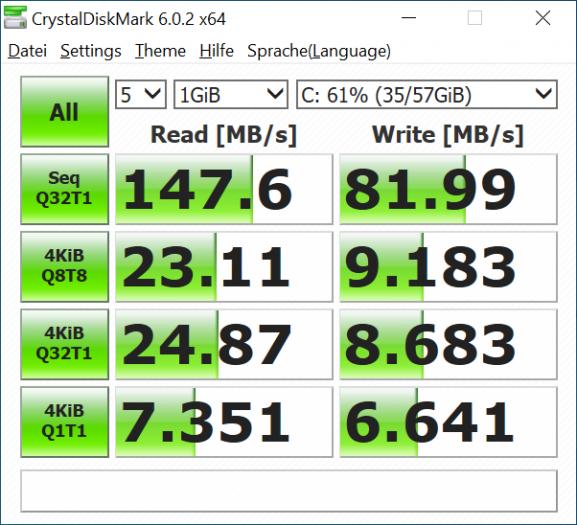 eMMC-Speicher-Geschwindigkeit - Medion Akoya E3221 (Bild: Oliver Nickel/Golem.de)
