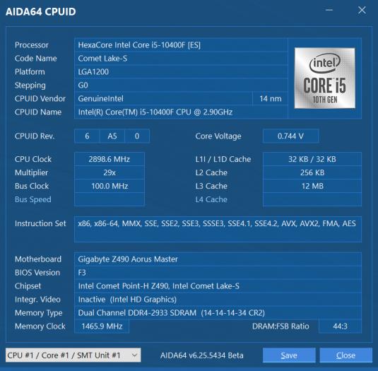 CPUID des Core i5-10400F als G0-Stepping, weil Qualification Sample (Screenshot: Golem.de)