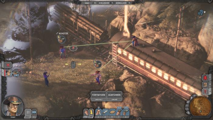 Cooper schaltet im Showdown-Modus gleichzeitig zwei Banditen aus. (Bild: Mimimi Games/Screenshot: Golem.de)