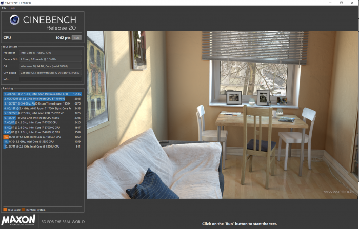 Egebnis in Cinebench R20 (Bild: Oliver Nickel/Golem.de)