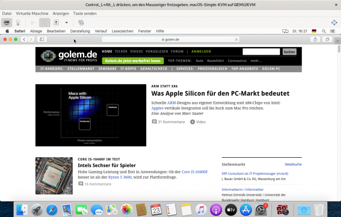 Golem.de im Apple Browser Safari. (Screenshot: Golem.de)