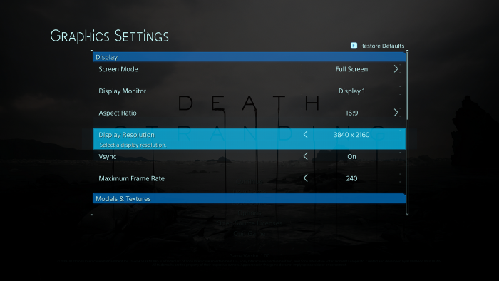 PC-Grafikmenü von Death Stranding (Rechteinhaber: Hideo Kojima, Screenshot: Golem.de)