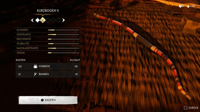 Waffen wie den Kurzbogen können wir im Spielverlauf verbessern. (Bild: Sony/Screenshot: Golem.de)
