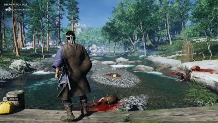 Jin macht bei einem Fluss eine grausliche Entdeckung ... (Bild: Sony/Screenshot: Golem.de)