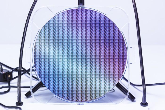Wafer mit Lakefield-Compute-Chips (Bild: Intel)