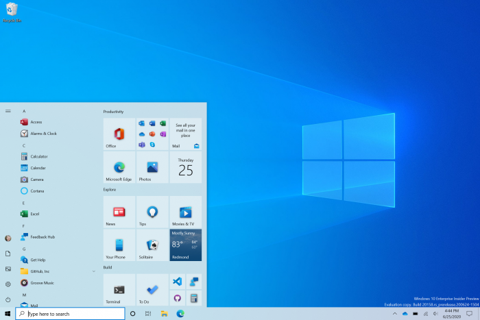 Neues Windows-10-Startmenü (Bild: Microsoft)