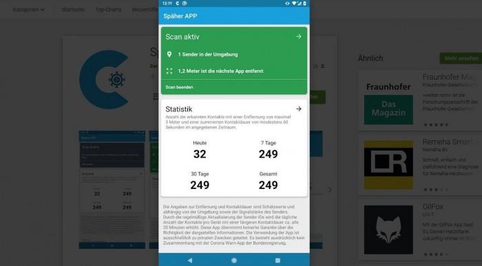 Die Späher-App schätzt die Entfernung zu Geräten mit der Corona-Warn-App der Regierung. (Screenshot: Golem.de)