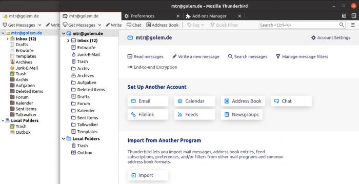 Der neue Thunderbird (rechts) sieht deutlich schicker aus. (Screenshot: Golem.de)