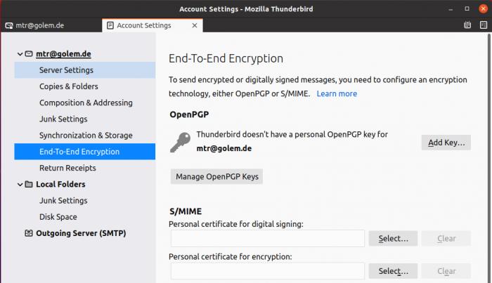 Dort finden wir auch die Ende-zu-Ende-Verschlüsselung mit OpenPGP. (Screenshot: Golem.de)