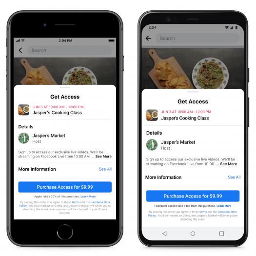 Bei Zahlungen für die Facebook Events wird nun auf die sogenannte Apple-Tax hingewiesen. (Bild: Facebook)