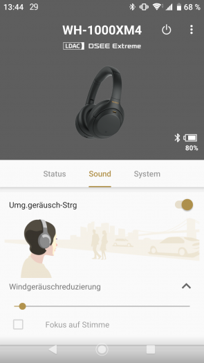 Die Einstellung zur Windgeräuschreduzierung in Sonys Kopfhörer-App könnte besser erreichbar sein. (Bild: Sony/Screenshot: Golem.de)