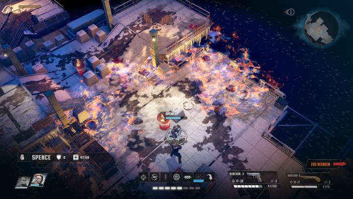 Manchmal ist das gesamte Kampfareal von Flammen bedeckt. (Bild: Inxile/Screenshot: Golem.de)