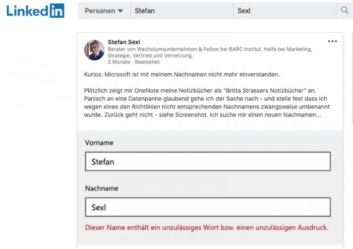 Fallbeispiel (Bild: Linkedin/Screenshot: Golem.de)