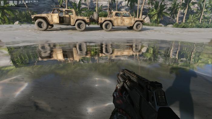 Auch der Ozean spiegelt dyamische Objekte wie Jeeps und Palmen. (Rechteinhaber: Crytek, Screenshot: Golem.de)