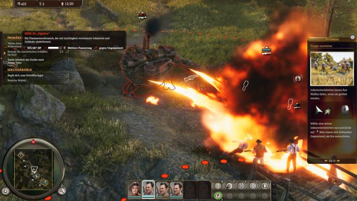 Die Mechs verfügen über besonders martialische Waffen, etwa Flammenwerfer. (Bild: King Art Games/Screenshot: Golem.de)