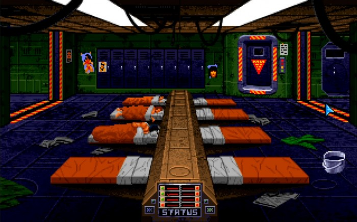 Die Schlafkajüte, die von Größe und Aufmachung eher an einen Hangar erinnert, zeigt auf einen Blick alle Spielstände. (Bild: Origin Systems/Medienagentur plassma)