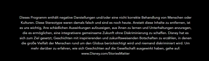 Solche Hinweise werden vor einigen Disneyfilmen gezeigt. (Bild: Disney)