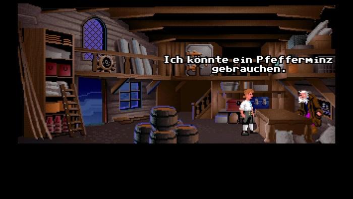 """""""Haben Sie auch was gegen Mundgeruch?"""" - der Krämer von Monkey Island hat zum Glück mehr als nur Schwerter im Lager. (Bild: Lucas Arts/Screenshot: Medienagentur plassma)"""