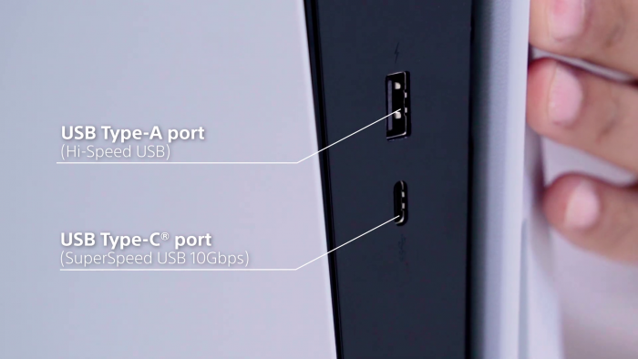 Frontanschlüsse der PS5 (Bild: Sony)