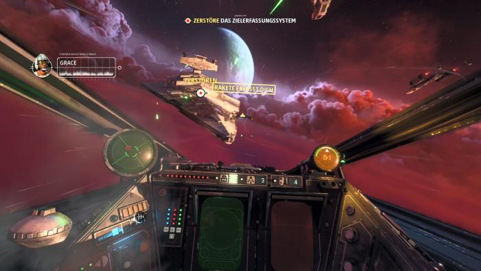 Mit unserem X-Wing sausen wir auf einen Sternenzerstörer zu. (Bild: EA/Screenshot: Golem.de)