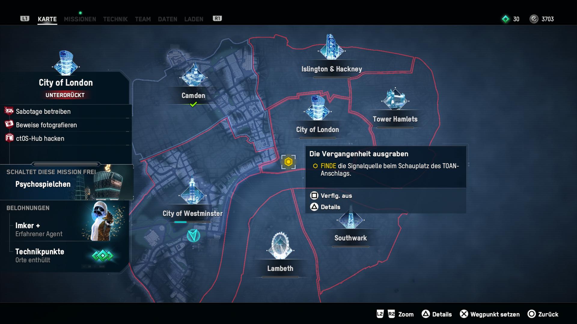 Watch Dogs Legion im Test: Hacker endlich in Hochform - Nach und nach erkunden wir die riesige Metropole. (Bild: Ubisoft/Screenshot: Golem.de)