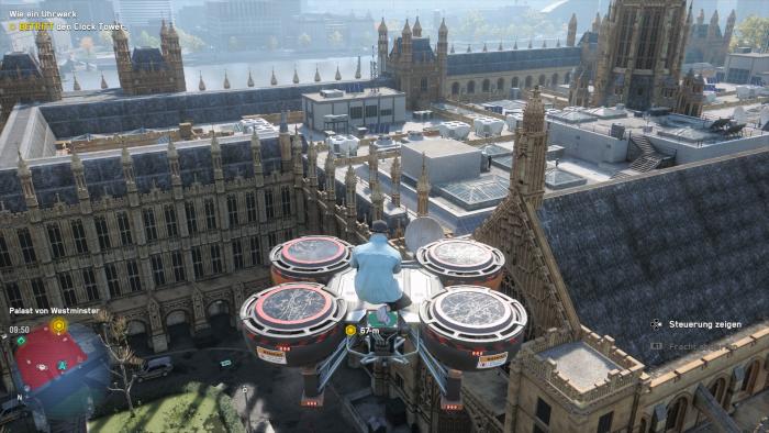 Auf einer Drohne fliegen wir über das Parlamentsgebäude. (Bild: Ubisoft/Screenshot: Golem.de)