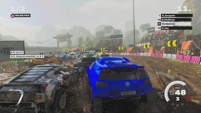 In Dirt 5 kommt es immer wieder zu Massenkarambolagen. (Bild: Codemasters/Screenshot: Golem.de)