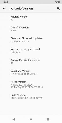 CalyxOS basiert auf Android 10. Aktualisierungen gibt es einmal im Monat. (Screenshot: Golem.de)